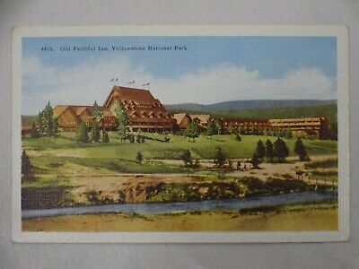 1930s Linen Postcard Old Faithful Inn Yellowstone National Park Unposted