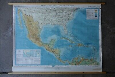 Wall Map of MEXICO, CENTRAL AMERICA & WEST INDIES rare MidCentury 46x35 poster