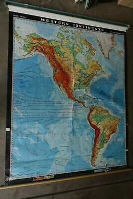 WESTERN CONTINENTS rare wall map 64 X 80 Nystrom HUGE roll cloth vintage