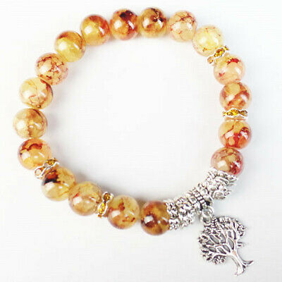 10mm Yellow Red Dragon Veins Agate Ball Tree Of Life Stretchy Bracelet 7.5Inch