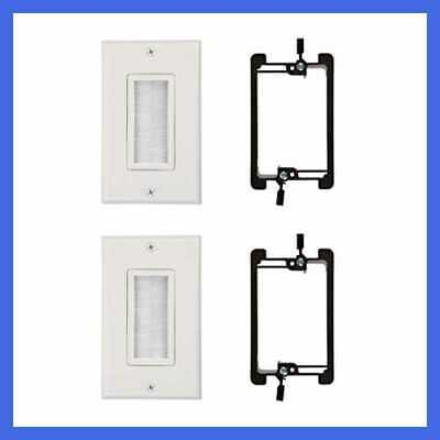 Brush Wall Plate UL Listed W Single Gang Low Voltage Mounting Bracket Device 2