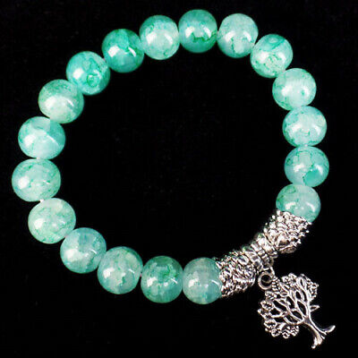 10mm Green Dragon Veins Agate Ball Tree Of Life Stretchy Bracelet 7.5 Inch
