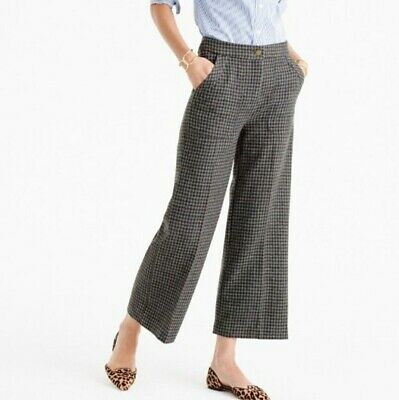 J.Crew F9557 100% wool wide leg lined pant in gray blue brown houndstooth 0