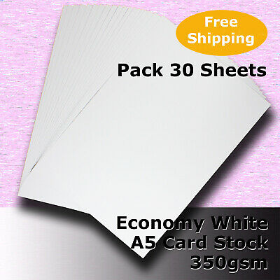 30 Sheets WHITE A5 Size 350gsm Economy Card Stock General Purpose #H5605 #DLLH