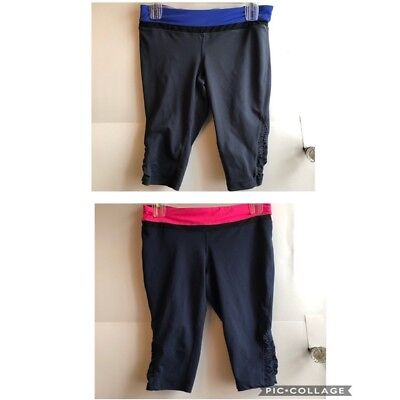 TANGERINE Navy Pink Gray Blue Activewear Cropped Crop Ankle Capri Leggings Small
