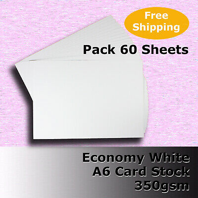 60 Sheets WHITE A6 Size 350gsm Economy Card Stock General Purpose #H5602 #DLLH