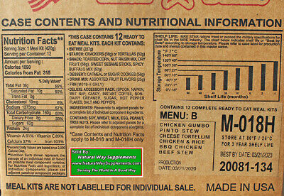 MRE's, Meals Ready to Eat 12 meals per case Variety of Meals Drink Mix Snacks -B