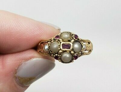 Antique Victorian 14K Ruby & Seed Pearl Cluster Decorative Ring