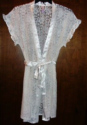 Lace Robe - Cream with White Trim - Short Wrap - SEXY - M (8-10)  - BRAND NEW