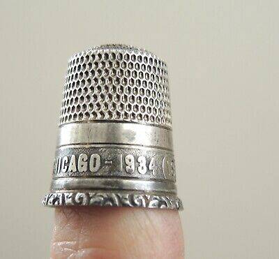 Antique Sterling Silver Thimble 1934 Chicago World's Fair Century of Progress