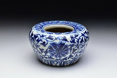 Chinese Ming Dynasty Blue & White Porcelain Brush Pot brush Washer with Flowers