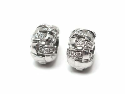 Boucles D'oreilles Tiffany & Co Vannerie Basket Weave Or Blanc & Diamants 4600€