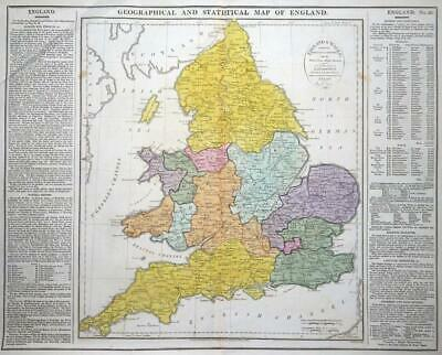 1813 - Large Antique GEOGRAPHICAL STATISTICAL Map ENGLAND & WALES Colour (LM4)