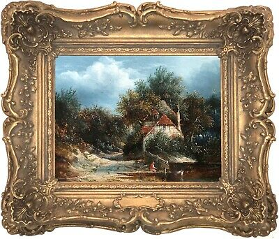 Angler in a Landscape Antique Oil Painting Early 19th Century British School