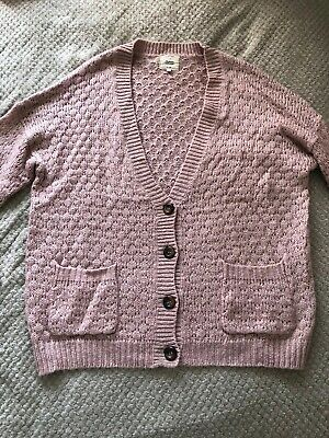 Women's Dusty Pink Chunky Knit Super Soft Cardigan UK Size 12 From New Look