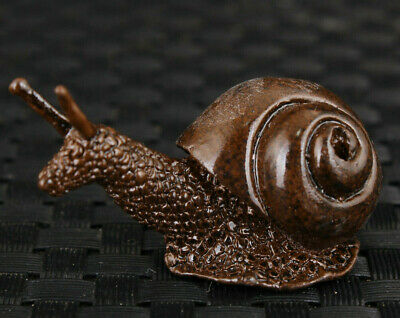 chinese old bronze hand carved snail statue figure