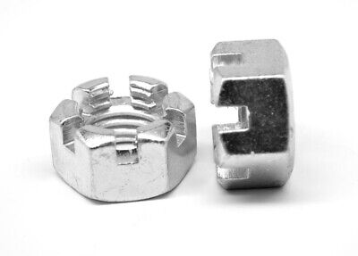 """9/16""""-12 Slotted Finished Hex Nut Low Carbon Steel Zinc Plated"""