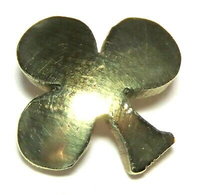 ANTIQUE FRENCH VICTORIAN GILT BRASS REALISTIC BUTTON ~ CLUB or CLOVER