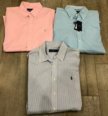 Lot Of 3 - Mens Ralph Lauren Casual Button Down Shirts - Xl (1 Nwt, 2 Euc)