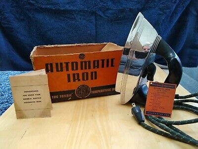 👉 Vintage 1950's GE General Electric Automatic Iron Mod# 119F114  w/Box Tested