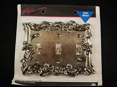 American Tack & Hardware Style Cast Metal Wall Triple 3 Switch Plate 60TTT, NEW