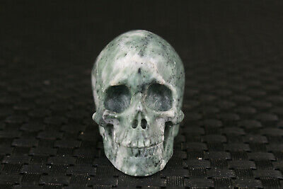 chinese old jade natural hand carved skull head statue figure collectable