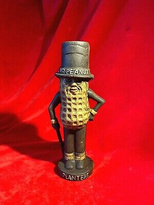 """Antique Planters Mr Peanut Cast Iron Toy Bank Figurine  7 1/2"""" Tall Hand-Painted"""