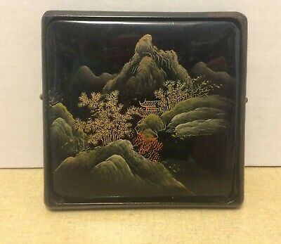 Vintage Chinese LACQUER Hand Painted Scenic Cigarette or Card Case ca 1950s1960s
