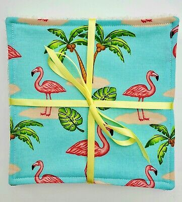 Reusable Wipes Flamingo 7 inch Cotton Towelling Cloth Washable Baby Makeup Pink