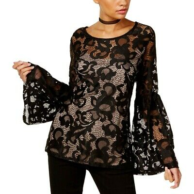 INC International Concepts Women's Black Size XS Lace Top Bell Sleeve Blouse