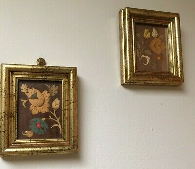 """Two Italian Floral Wood Carvings Antique Italy 1993 Wall Hangings 5"""" decor"""