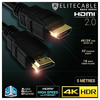 Cable HDMI 2.0 5m 4K HDR UHD High Speed Ethernet 3D Audio ARC Lecteur Blu-Ray Xb
