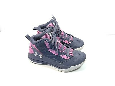 Under Armour Purple Leather High Top Athletic Running Shoes 124069 Youth Girls 4