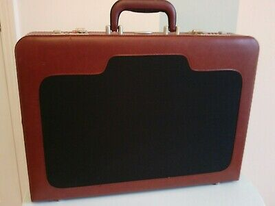 Unisex Black & Tan Briefcase With Combination Lock Faux Leather Unused