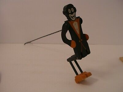 Folk Art Hand Carved Wooden Jointed Figure Black Americana Toy Puppet