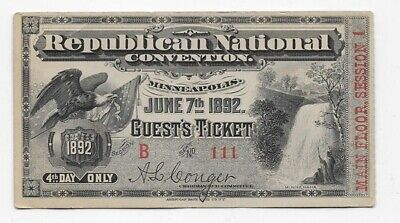 1892 Republican National Convention Guest Ticket Main Floor Session 1