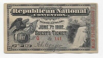 1892 Republican National Convention Guest Ticket Main Floor Session 2