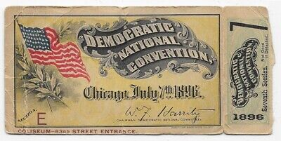 1896 Democratic National Convention Ticket Chicago July 7th 1896 7th Session