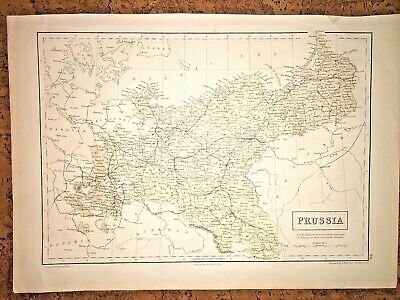Antique Map of PRUSSIA -Germany&Poland Engraved S. Hall 1854