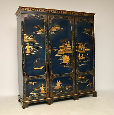 Antique Chinoiserie Lacquered 3 Door Wardrobe by Hille