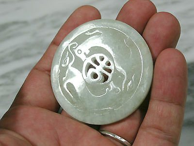 Antique Chinese Carved Grade A Green Jadeite Jade Medallion W Mythical Creatures