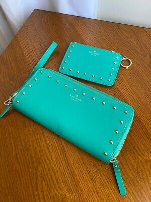 Kate Spade Emerald Green ID Zip-around Wallet  With Card Pouch Keychain