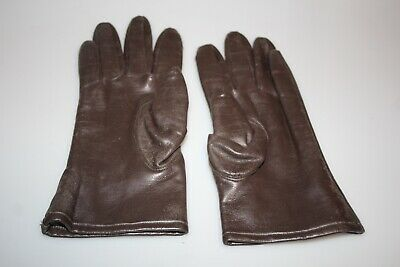 Vintage brown, cotton fleece lined vinyl gloves s. 7.5