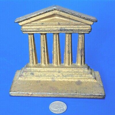 Vintage Gilted Cast Iron Model Of Ancient Greek Temple Facade With 5 Pillars
