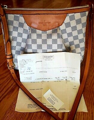 "Authentic Louis Vuitton Damier Azur Siracusa PM Shoulder Bag N41113 12""x9"""