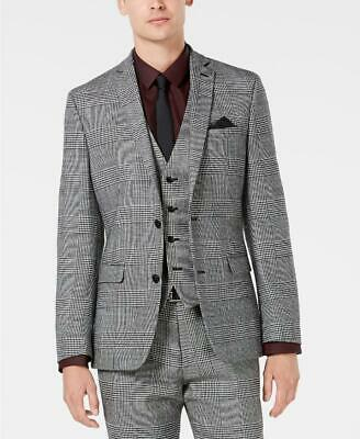 $295 Bar III Men's Slim Fit Black White Plaid Sport Coat Jacket 38S