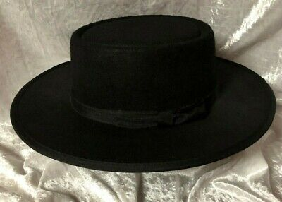Amish Black Flet Hat For Boys - Size Small - New