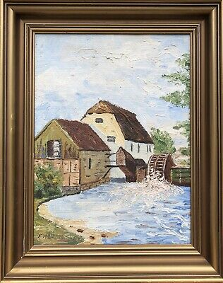 Unknown Painter Old Water Mill in North Germany Oil Painting 31X39