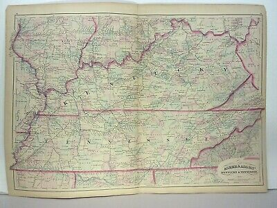 1872 ASHER & ADAMS ATLAS MAP of KENTUCKY & TENESSEE WITH 16 GAZETTEER PAGES