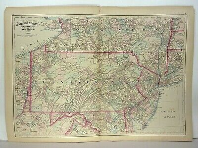 1872 ASHER & ADAMS ATLAS MAP of PENNSYLVANIA & NEW JERSEY WITH 28 GAZETTEE PAGES